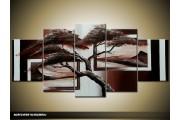 Acryl Schilderij Boom | Bruin | 150x70cm 5Luik Handgeschilderd