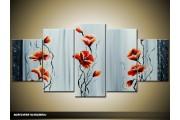 Acryl Schilderij Klaproos | Rood, Grijs | 150x70cm 5Luik Handgeschilderd