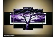 Acryl Schilderij Boom | Paars, Zwart | 150x70cm 5Luik Handgeschilderd