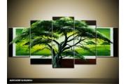 Acryl Schilderij Boom | Groen | 150x70cm 5Luik Handgeschilderd