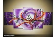 Acryl Schilderij Modern | Paars, Rood | 150x70cm 5Luik Handgeschilderd