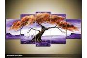 Acryl Schilderij Natuur | Paars, Bruin | 150x70cm 5Luik Handgeschilderd