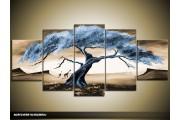 Acryl Schilderij Natuur | Blauw, Crème | 150x70cm 5Luik Handgeschilderd