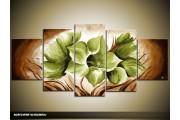 Acryl Schilderij Magnolia | Groen, Bruin | 150x70cm 5Luik Handgeschilderd