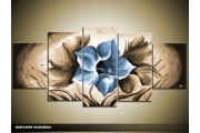 Acryl Schilderij Magnolia | Blauw, Bruin | 150x70cm 5Luik Handgeschilderd