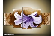 Acryl Schilderij Woonkamer | Paars, Bruin | 150x70cm 5Luik Handgeschilderd