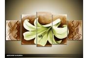 Acryl Schilderij Woonkamer | Groen, Bruin | 150x70cm 5Luik Handgeschilderd