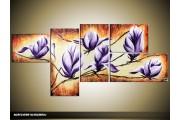 Acryl Schilderij Magnolia | Paars, Bruin, Crème | 150x70cm 5Luik Handgeschilderd