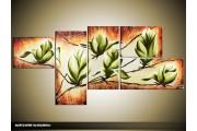 Acryl Schilderij Magnolia | Groen, Bruin, Crème | 160x70cm 5Luik Handgeschilderd