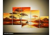 Acryl Schilderij Natuur | Oranje, Rood, Geel | 150x70cm 5Luik Handgeschilderd
