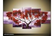 Acryl Schilderij Natuur | Paars, Rood | 150x70cm 5Luik Handgeschilderd