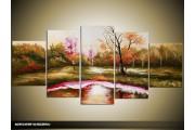 Acryl Schilderij Natuur | Groen, Paars | 150x70cm 5Luik Handgeschilderd
