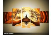 Acryl Schilderij Yoga | Geel, Bruin | 150x70cm 5Luik Handgeschilderd