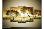 Acryl Schilderij Natuur   Bruin, Geel, Groen   150x70cm 5Luik Handgeschilderd