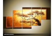 Acryl Schilderij Natuur | Bruin, Geel, Zwart | 150x70cm 5Luik Handgeschilderd