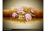 Acryl Schilderij Roos | Bruin, Roze | 150x70cm 5Luik Handgeschilderd