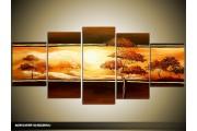 Acryl Schilderij Natuur   Oranje, Bruin   150x70cm 5Luik Handgeschilderd
