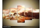 Acryl Schilderij Bergen | Bruin, Crème | 150x70cm 5Luik Handgeschilderd