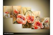 Acryl Schilderij Roos | Crème, Oranje | 150x70cm 5Luik Handgeschilderd