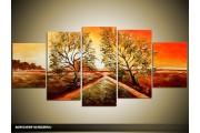 Acryl Schilderij Natuur | Bruin, Rood | 150x70cm 5Luik Handgeschilderd