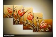 Acryl Schilderij Tulpen | Bruin, Rood | 150x70cm 5Luik Handgeschilderd