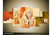 Acryl Schilderij Egypte | Bruin, Crème | 150x70cm 5Luik Handgeschilderd