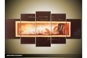 Acryl Schilderij Sexy | Bruin, Crème | 150x70cm 5Luik Handgeschilderd
