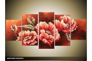 Acryl Schilderij Klaproos | Roze | 150x70cm 5Luik Handgeschilderd