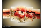 Acryl Schilderij Klaproos | Rood, Crème | 150x70cm 5Luik Handgeschilderd