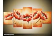 Acryl Schilderij Natuur | Oranje | 150x70cm 5Luik Handgeschilderd