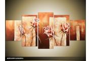 Acryl Schilderij Roos | Bruin | 150x70cm 5Luik Handgeschilderd