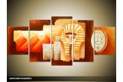 Acryl Schilderij Egypte | Bruin, Rood, Crème | 150x70cm 5Luik Handgeschilderd