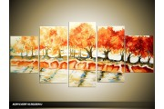Acryl Schilderij Natuur   Oranje, Crème   150x70cm 5Luik Handgeschilderd