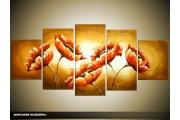 Acryl Schilderij Klaproos | Oranje, Bruin | 150x70cm 5Luik Handgeschilderd