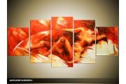Acryl Schilderij Sexy | Rood, Oranje | 150x70cm 5Luik Handgeschilderd