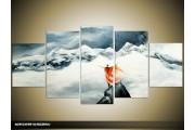 Acryl Schilderij Natuur | Grijs, Rood | 150x70cm 5Luik Handgeschilderd