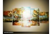 Acryl Schilderij Natuur | Bruin, Groen | 150x70cm 5Luik Handgeschilderd