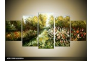 Acryl Schilderij Natuur   Groen   150x70cm 5Luik Handgeschilderd
