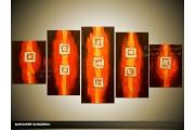 Acryl Schilderij Modern | Oranje, Bruin | 150x70cm 5Luik Handgeschilderd