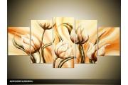 Acryl Schilderij Modern | Crème, Bruin | 150x70cm 5Luik Handgeschilderd
