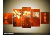 Acryl Schilderij Modern   Bruin, Crème   150x70cm 5Luik Handgeschilderd