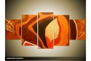 Acryl Schilderij Modern   Bruin, Oranje   150x70cm 5Luik Handgeschilderd