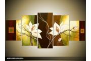 Acryl Schilderij Magnolia | Bruin, Groen, Geel | 150x70cm 5Luik Handgeschilderd