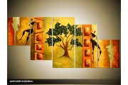 Acryl Schilderij Woonkamer | Bruin, Groen | 150x70cm 5Luik Handgeschilderd