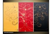 Acryl Schilderij Modern | Rood, Geel, Zwart | 120x80cm 3Luik Handgeschilderd