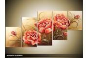 Acryl Schilderij Roos | Rood, Groen | 150x70cm 5Luik Handgeschilderd