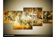 Acryl Schilderij Natuur   Bruin, Groen   150x70cm 5Luik Handgeschilderd