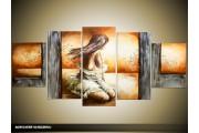 Acryl Schilderij Slaapkamer | Bruin, Grijs | 150x70cm 5Luik Handgeschilderd