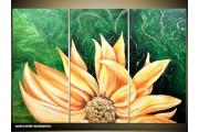 Acryl Schilderij Modern | Groen, Geel | 120x80cm 3Luik Handgeschilderd