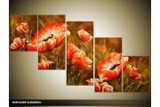 Acryl Schilderij Klaproos   Rood, Bruin   150x70cm 5Luik Handgeschilderd